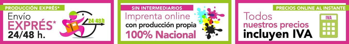 Imprenta online Imprimoverde con envío exprés y producción nacional. Precios con iva